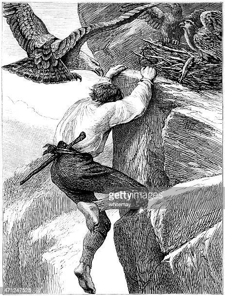 man being attacked by eagles (victorian illustration) - crag stock illustrations, clip art, cartoons, & icons