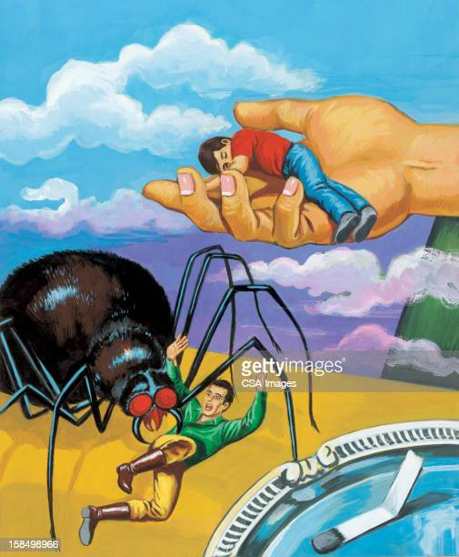 man being attacked by large spider - phobia stock illustrations, clip art, cartoons, & icons