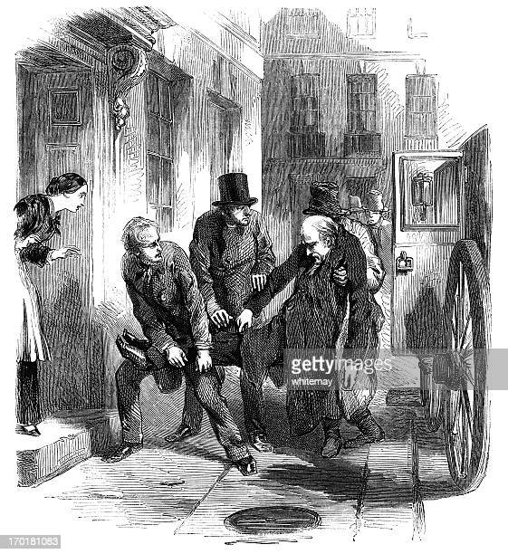 man being carried from carriage to house (victorian engraving) - 19th century style stock illustrations
