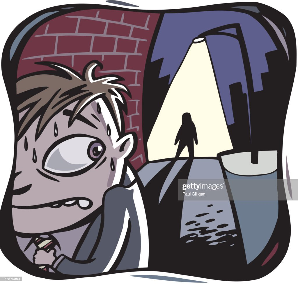 A man being followed at night : Illustration