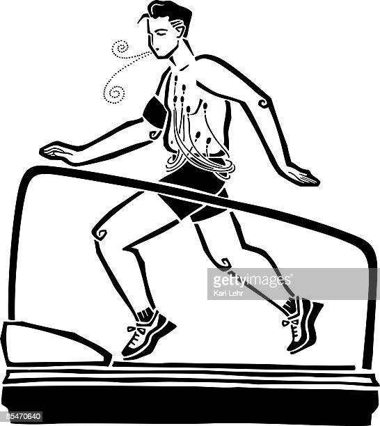 A man being monitored by doctors while on a running a machine
