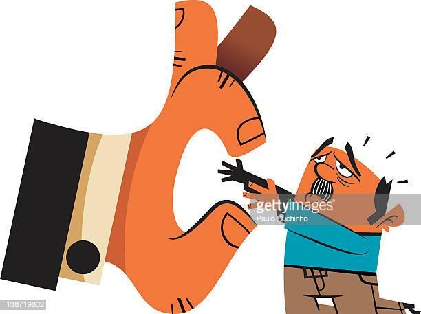 ilustrações de stock, clip art, desenhos animados e ícones de a man being picked up by a big hand - buchinho