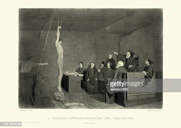 man being tortured by the spanish inquisition, forced confession - torture stock illustrations