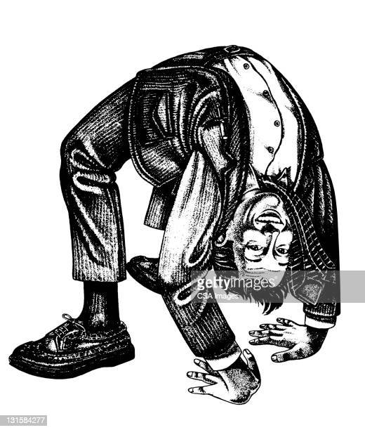 man bending over backwards - dipping stock illustrations, clip art, cartoons, & icons
