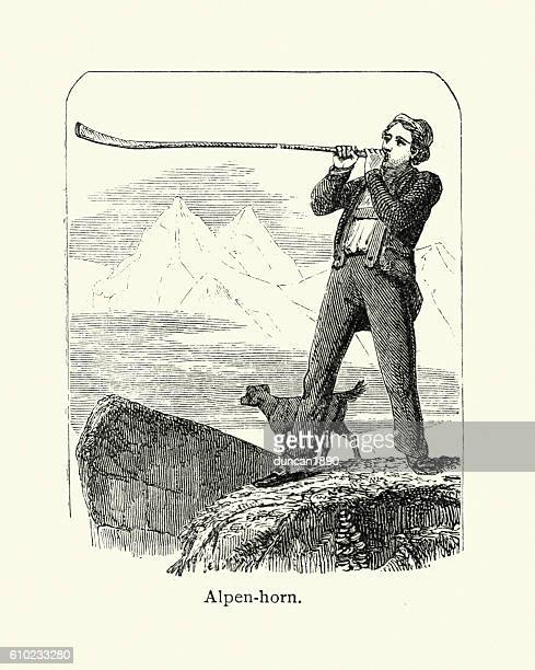 Man blowing a Alpen horn, 19th Century