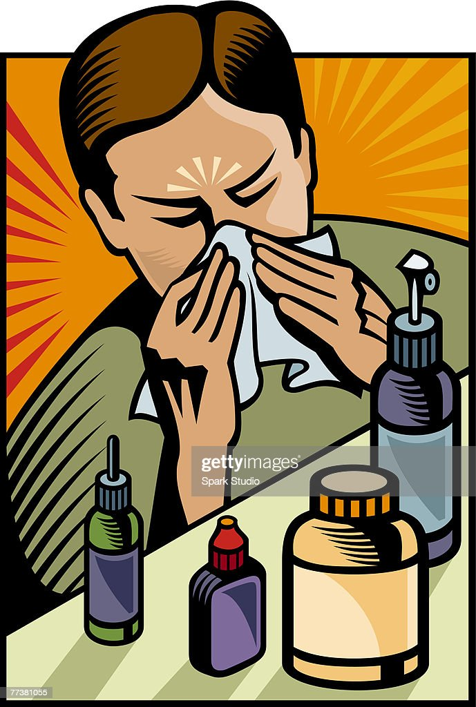A man blowing his nose : stock illustration