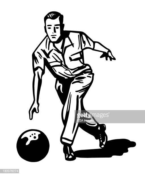 man bowling - bowling stock illustrations, clip art, cartoons, & icons