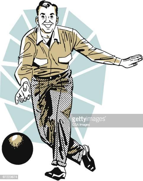man bowling - bowling ball stock illustrations, clip art, cartoons, & icons