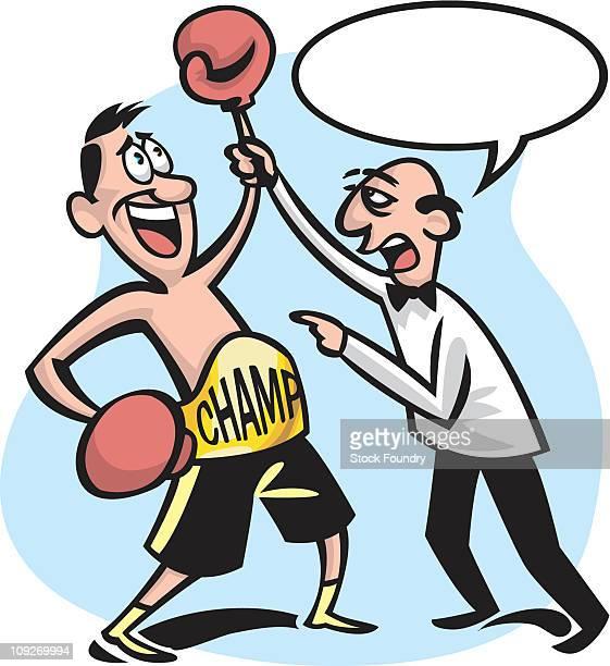 illustrations, cliparts, dessins animés et icônes de a man boxing and the referee with a text bubble - gant de boxe