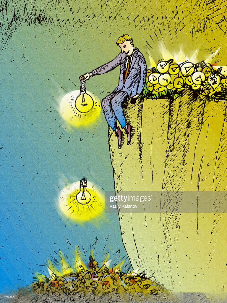 Man Breaking Light Bulbs : Stock Illustration