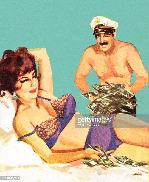 ilustraciones, imágenes clip art, dibujos animados e iconos de stock de hombre a mujer poner dinero sobre la cama - prostituta