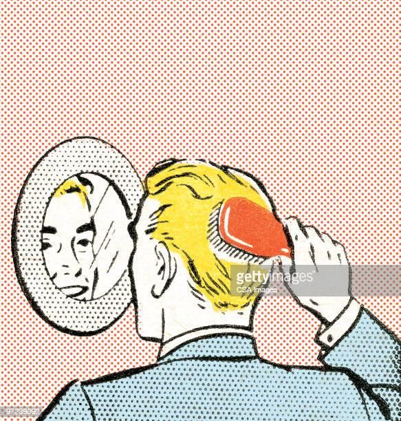 man brushing hair - only men stock illustrations