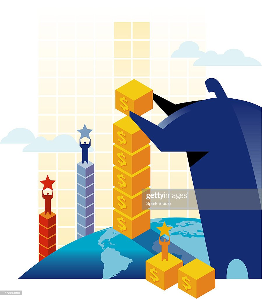 A man building columns of blocks with men standing on top : Illustration