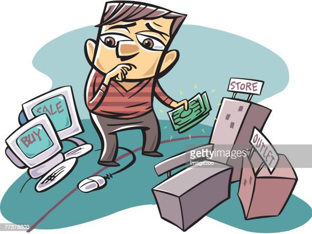man buying and selling online - spending money stock illustrations, clip art, cartoons, & icons