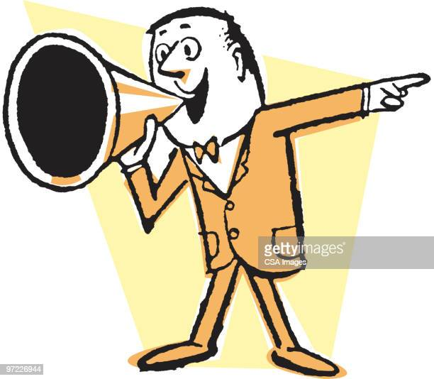 man calling out with megaphone - barker stock illustrations, clip art, cartoons, & icons