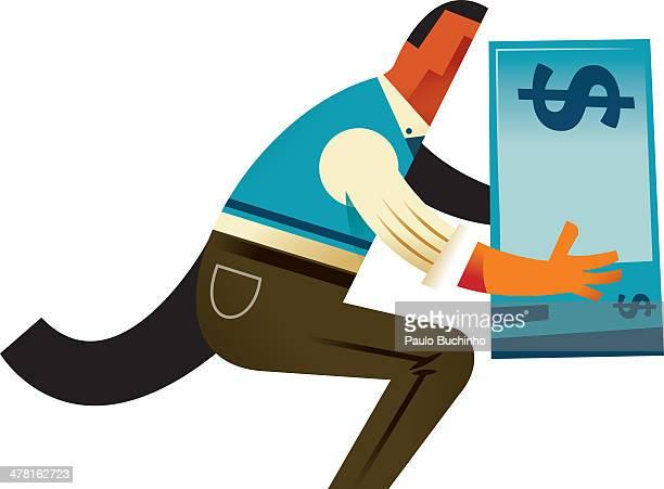 A man carrying a big dollar bill