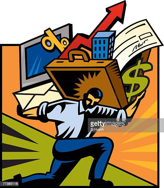 a man carrying a computer and a briefcase stuffed with various items - cash flow stock illustrations, clip art, cartoons, & icons