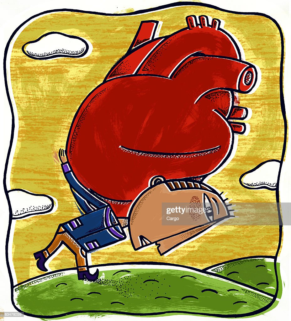 A man carrying a giant heart : Stock Illustration