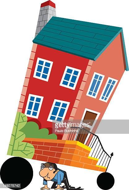 ilustrações de stock, clip art, desenhos animados e ícones de a man carrying a house on his head - buchinho