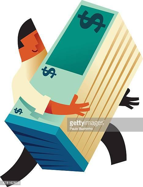 ilustrações de stock, clip art, desenhos animados e ícones de a man carrying a stack of dollar bills - buchinho