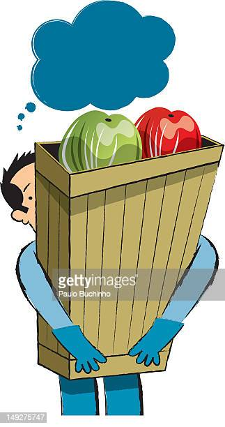 ilustrações de stock, clip art, desenhos animados e ícones de a man carrying a tall bag of groceries - buchinho