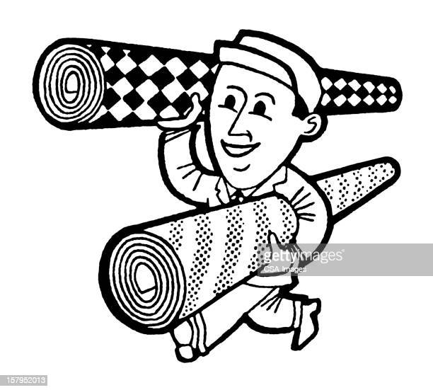 Man Carrying Carpets