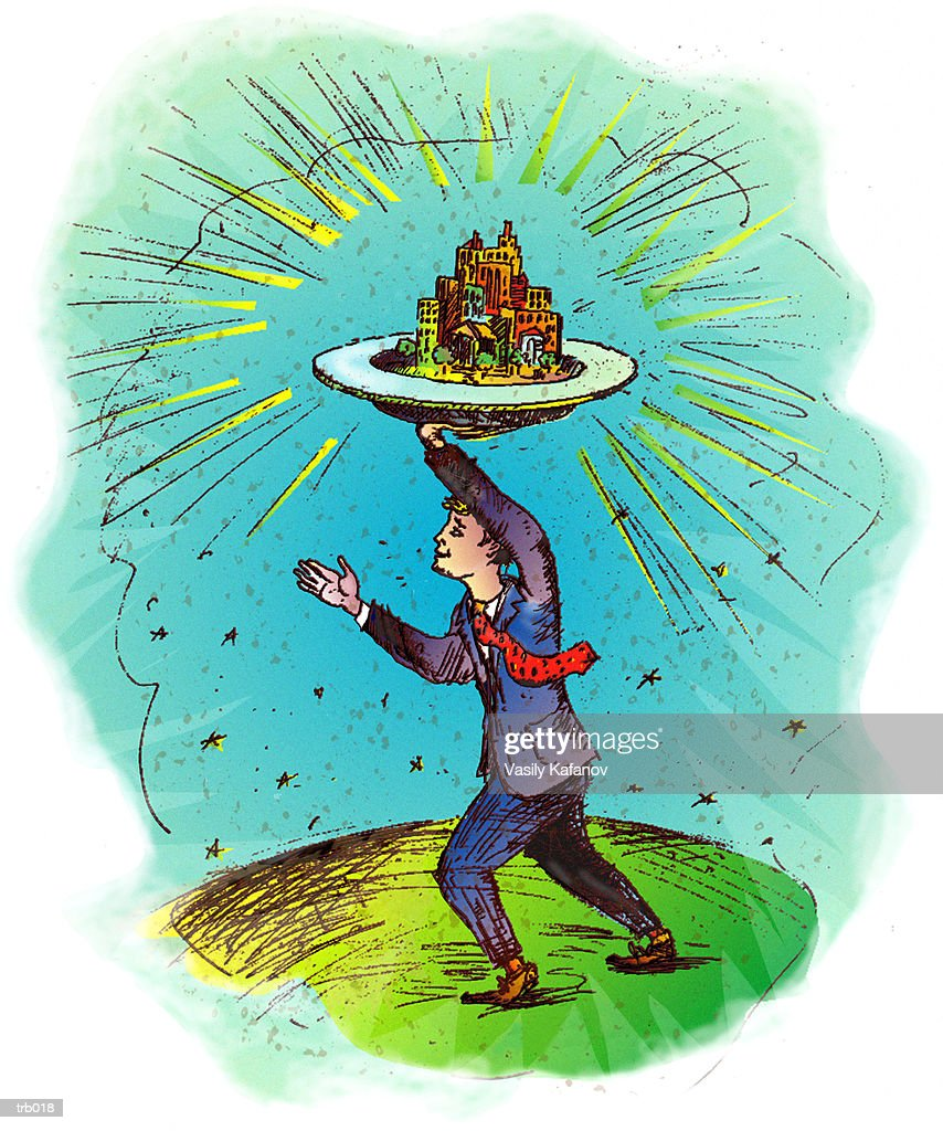 Man Carrying City on Plate : Stock Illustration