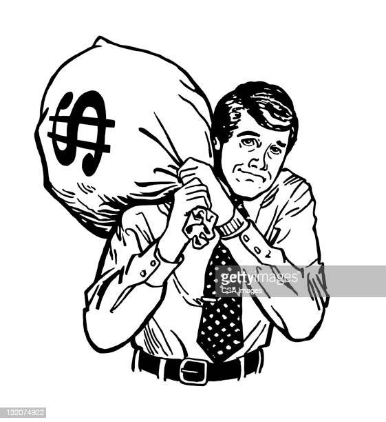 Man Carrying Heavy Bag of Money
