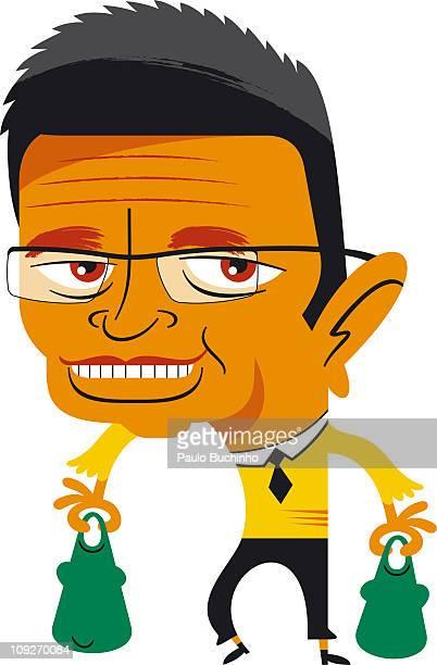 ilustrações de stock, clip art, desenhos animados e ícones de a man carrying shopping in eco-friendly bags - buchinho