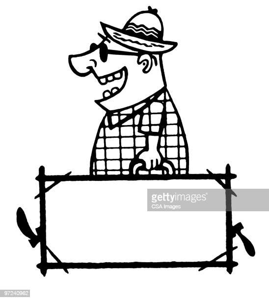man carrying suitcase - sunglasses stock illustrations