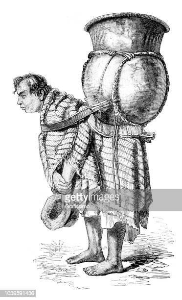 エクアドルのキト図 1851 に水指を運ぶ男