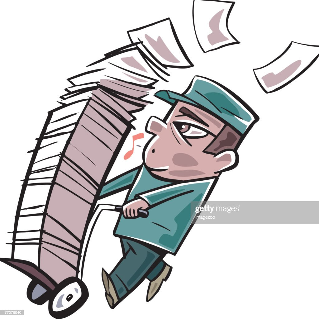 man carting around a large stack of paper on a trolly : Illustration