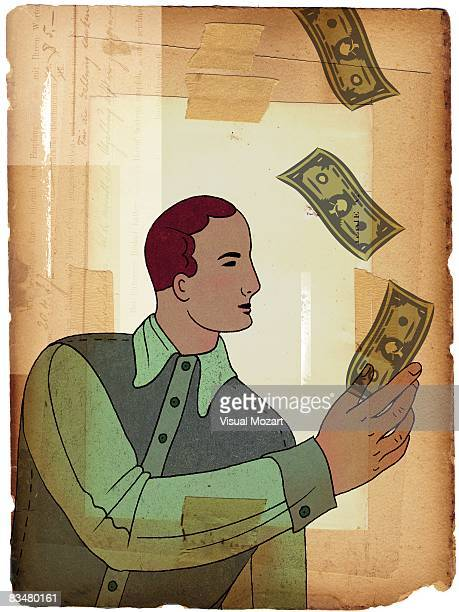 a man catching banknotes that are falling from above - cash flow stock illustrations, clip art, cartoons, & icons