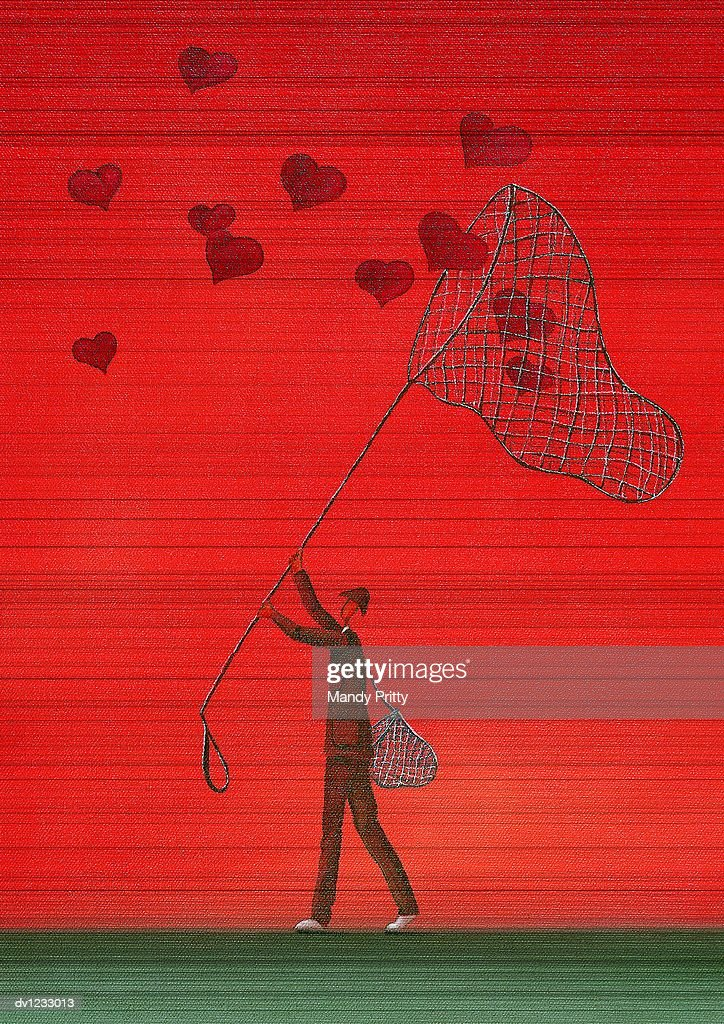 Man Catching Heart Shapes With a Net : Stock Illustration