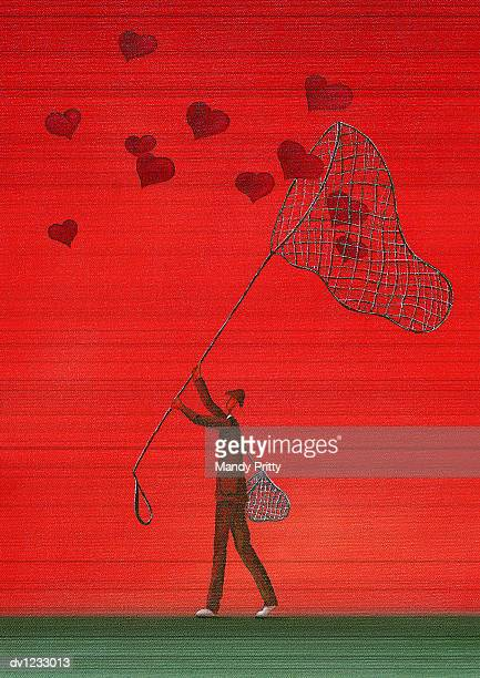 man catching heart shapes with a net - mandy pritty stock illustrations