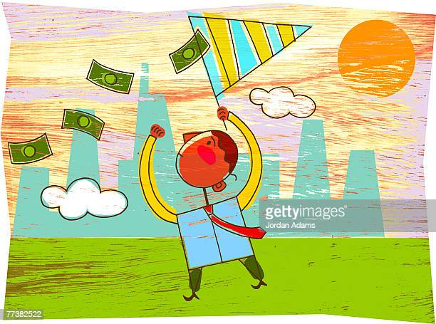 Man catching money with a net