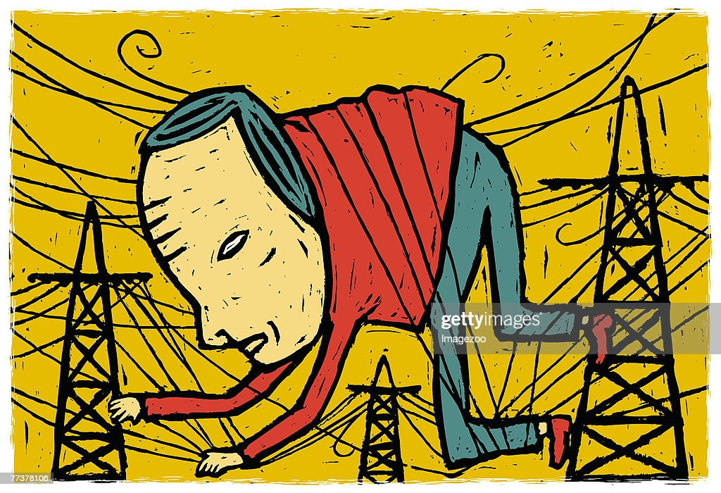 man caught in the power lines : Illustration