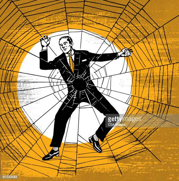 man caught in web - trapped stock illustrations