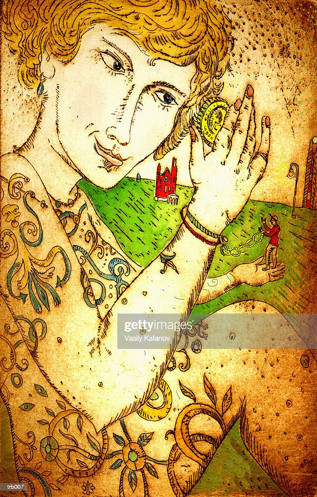 Man Chained to Tattooed Lady : Stock Illustration