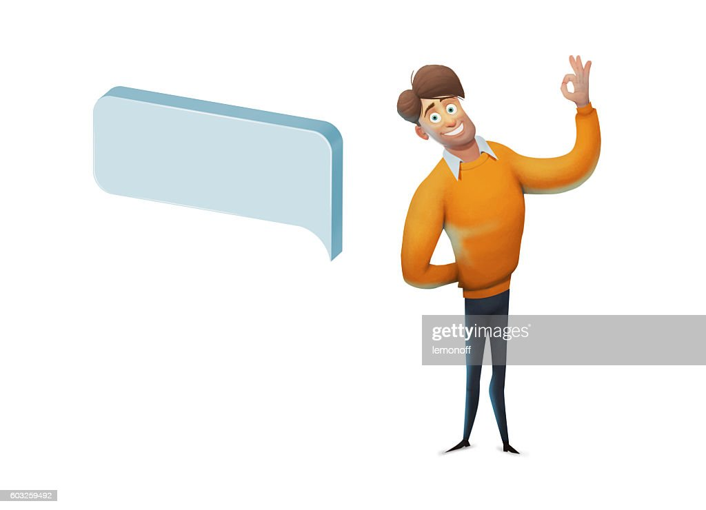 Man Character With Speech Bubbles Massage Concept Stock Illustration ...