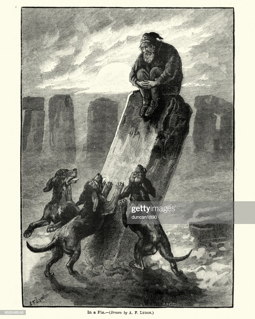 Man chased by a pack of dogs up a standing stone : stock illustration