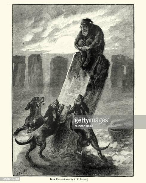 ilustrações de stock, clip art, desenhos animados e ícones de man chased by a pack of dogs up a standing stone - megalith