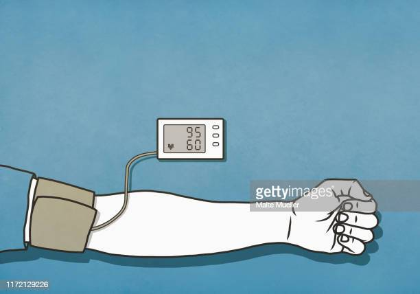 man checking blood pressure with cuff and monitor, low blood pressure - unrecognisable person stock illustrations
