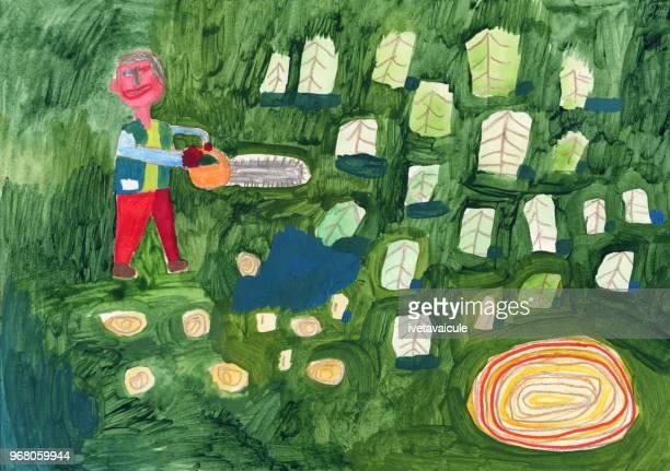 ilustraciones, imágenes clip art, dibujos animados e iconos de stock de hombre de cortar árboles. asuntos de medio ambiente - cortar