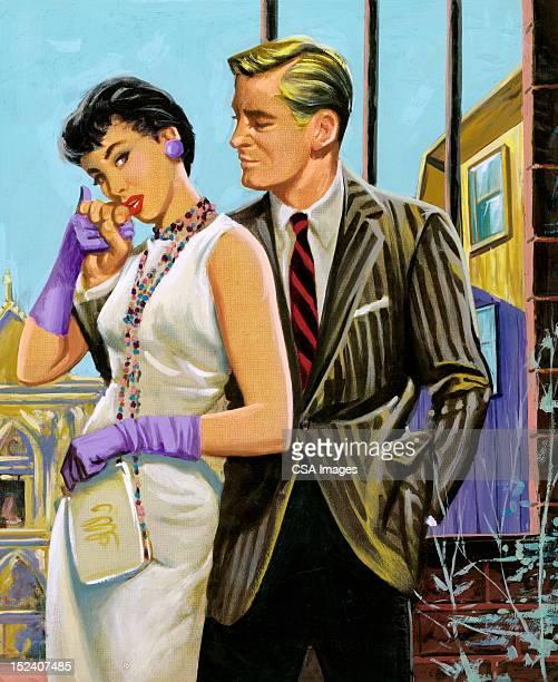 illustrations, cliparts, dessins animés et icônes de homme femme main clasping de derrière - femme bcbg