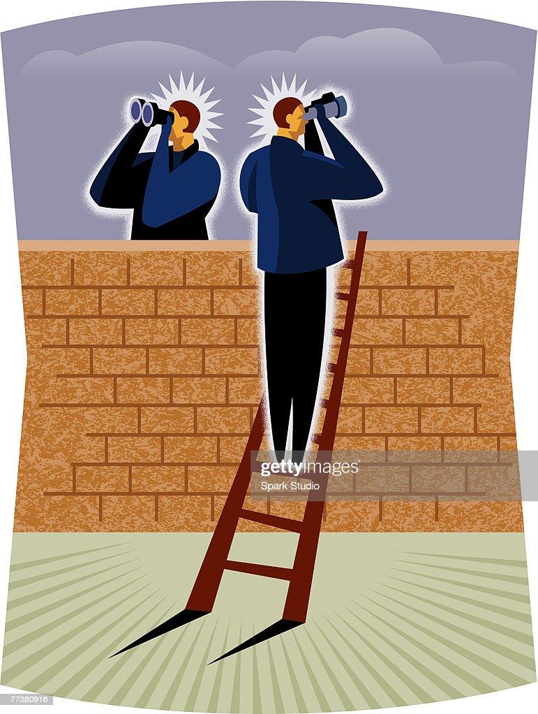 A man climbing a ladder and looking through binoculars : Illustration