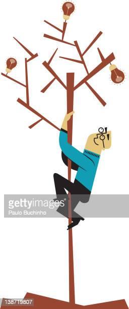 ilustrações de stock, clip art, desenhos animados e ícones de a man climbing a tree of lightbulbls - buchinho
