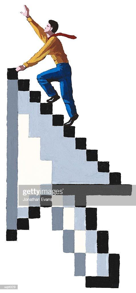 Man Climbing Arrow Icon : Illustration