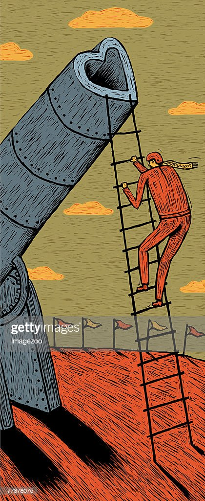 man climbing up a ladder to a heart-shaped cannon : Illustration