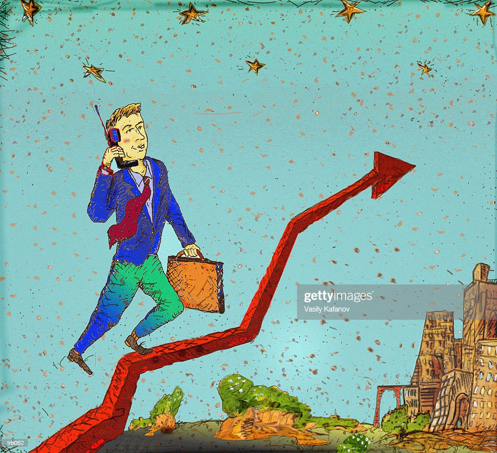 Man Climbing Upward Arrow : Ilustración de stock
